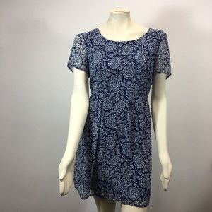 As U Wish Blue and White Floral Dress - NWOT